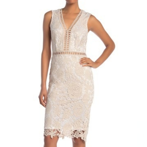 Love By Design Dresses & Skirts - Love by Design Lace & lattice midi dress XL white